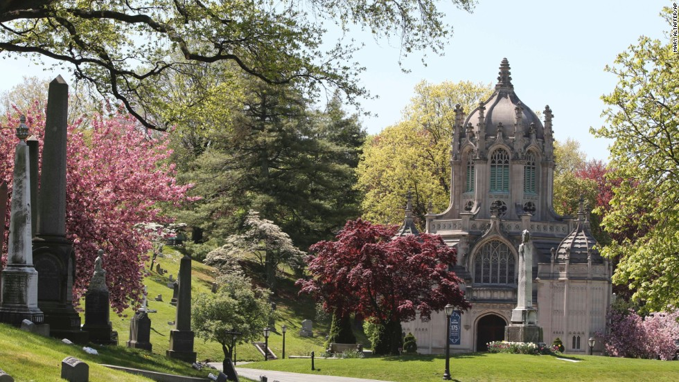 Designated a National Historic Landmark in 2006, Brooklyn's Green-Wood Cemetery had its 175th anniversary in 2013. This spring 2013 photo shows the cemetery chapel.