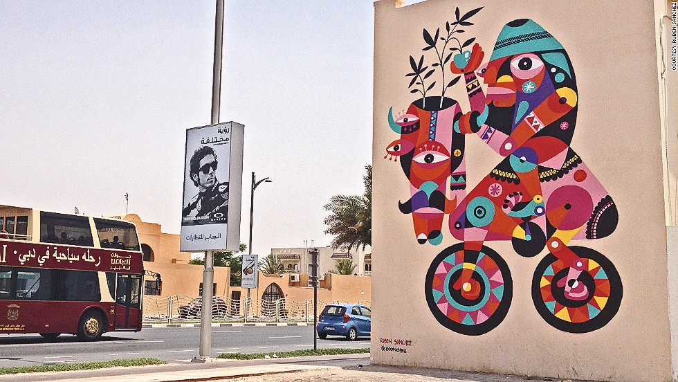 While street artists rarely ask for permission in other cities, in Dubai, it's par for the course. Sanchez has been getting approval from the local government and property owners before crafting his murals.