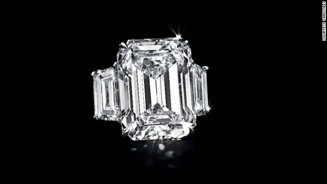 Kim Kardashian's 20-carat diamond engagement ring was auctioned Tuesday in New York for $749,000.