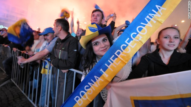 Bosnian football fans celebrated their team's heroics by partying in Sarajevo.