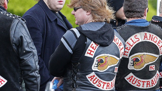 Australian Hells Angels show their colors at a Melbourne underworld funeral in 2010.