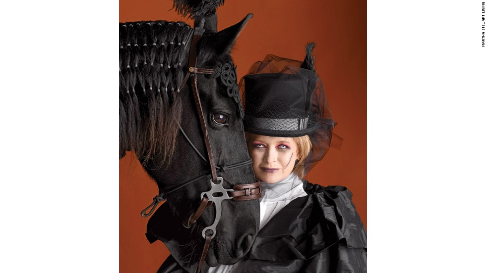 "With<a href=""http://www.marthastewart.com/269471/marthas-ghostly-equestrienne-makeup?xsc=synd_cnn"" target=""_blank""> reddened eyes, a ghostly pallor,</a> and her midnight steed Rutger by her side, Martha was instantly transformed into a <a href=""http://www.marthastewart.com/907722/ghostly-equestrienne-costume?xsc=synd_cnn"" target=""_blank"">haunted horsewoman</a> for the cover of the 2009 Halloween issue."