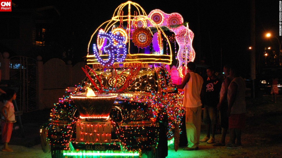 "Each year Guyana's 200,000 strong Hindu population celebrate Diwali with a <a href=""http://ireport.cnn.com/docs/DOC-1044444"" target=""_blank"">huge motorcade</a> in the capital Georgetown. This photo, featuring one of the sparkling vehicles, was captured in 2009 by Guyana native Amanda Richards. She said: ""Spectators line the route and wait for hours to see the parade pass by.  It is now a tourist attraction and also a family outing for thousands of people."""