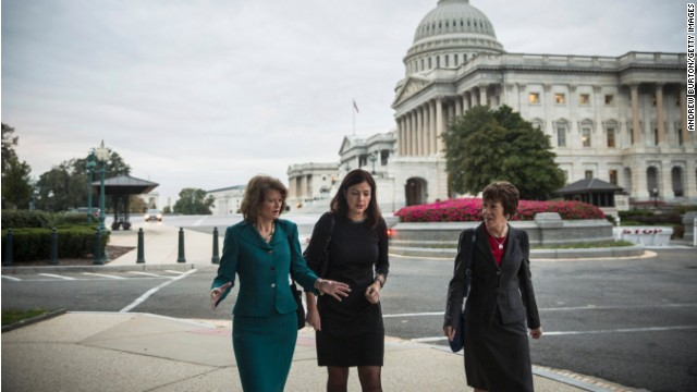 Sens. Murkowski, Ayotte, and Collins walked together through Capitol Hill Wednesday as news of a Senate deal was imminent.