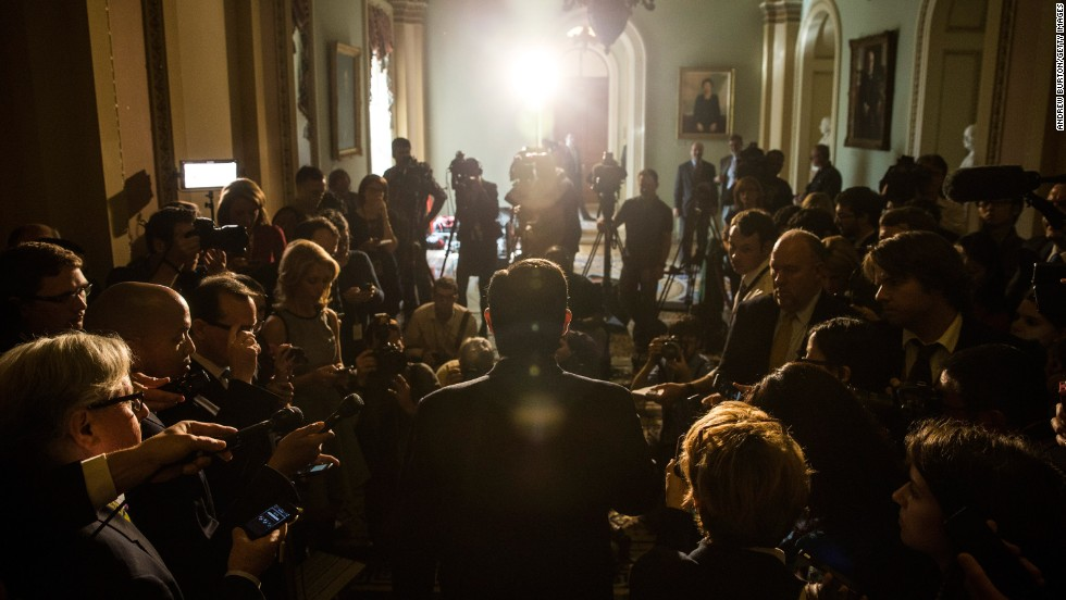 "OCTOBER 17 - WASHINGTON, DC: Senator Ted Cruz answers questions from the media after the Senate announced that it<a href=""http://www.cnn.com/2013/10/16/politics/senate-behind-the-scenes/index.html?hpt=po_c2""> had reached a bipartisan deal </a>on funding the U.S. federal government.  After weeks of bitter political fighting, Congress finally <a href=""http://www.cnn.com/2013/10/16/politics/shutdown-showdown/index.html?hpt=hp_t1"">approved a bill to reopen the government</a> and avoid defaulting on its debt -- <a href=""http://www.cnn.com/2013/10/17/politics/shutdown-over-main/index.html?iid=article_sidebar"">for now</a>."