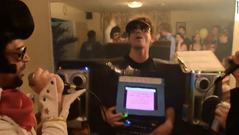 """If you're going to be a gadget, be a fun one. <a href=""""http://www.youtube.com/watch?v=y68WJ9KD33M"""" target=""""_blank"""">A YouTube user named lukasodhner</a> dressed up as a fully functional, battery-operated karaoke machine. He had a songbook, speakers, lyrics and a friend dressed like Elvis Presley."""