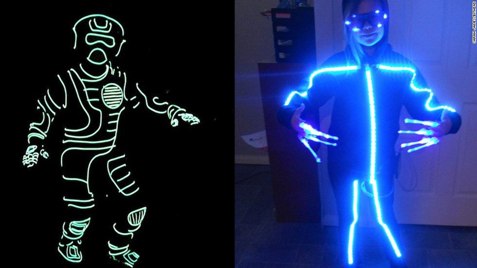 "LED lights and electroluminescent, or EL, wire are classic costume ingredients. Beyond ""Tron"" costumes, they can be used to make an <a href=""http://bithead942.wordpress.com/2013/09/20/rgb-stickman-halloween-costume"" target=""_blank"">RGB stickman</a>, right, or more elaborate, full-body <a href=""http://www.instructables.com/id/Light-Up-Costume/"" target=""_blank"">light-up disguises</a>."