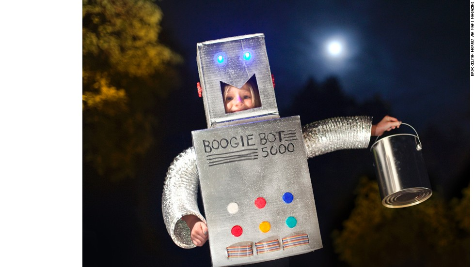 """No technology is necessary to create a classic robot costume, just some duct tape and cardboard. But these outfits get better when you add blinky lights, tablets for interactive displays, sounds and anything else you can dig up. Start with<a href=""""http://makezine.com/projects/Robot-Halloween-Costume/#.UIW-Nmk5w_1"""" target=""""_blank""""> this basic bot from Make Magazine</a>."""