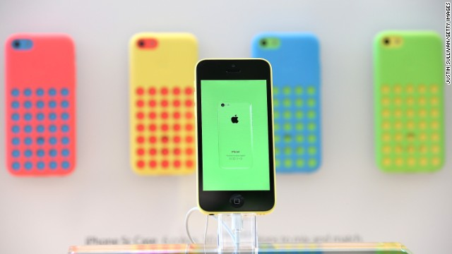 The new Apple iPhone 5C is displayed at an Apple store on September 20 in Palo Alto, California.