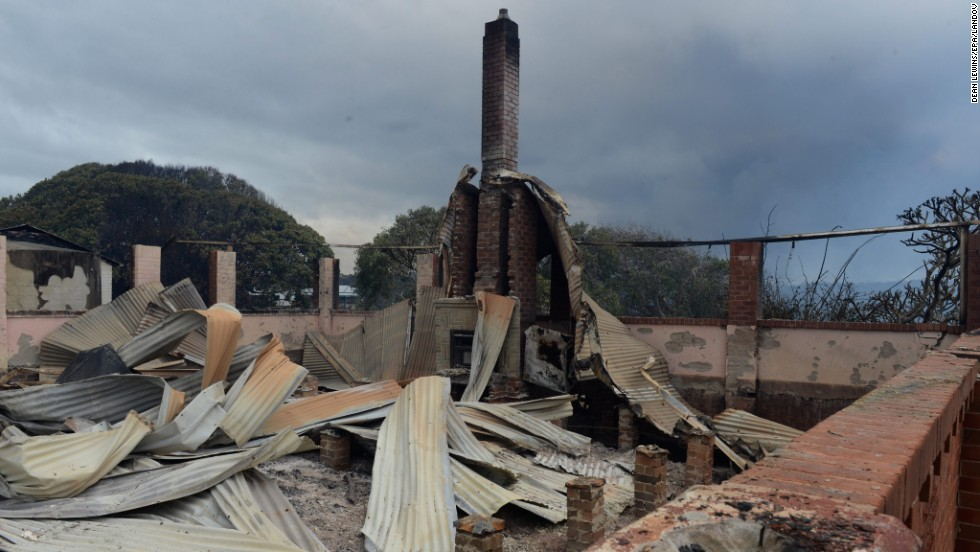The Wallarah House, a historic site, sits burned to the ground in Catherine Hill Bay on October 18.