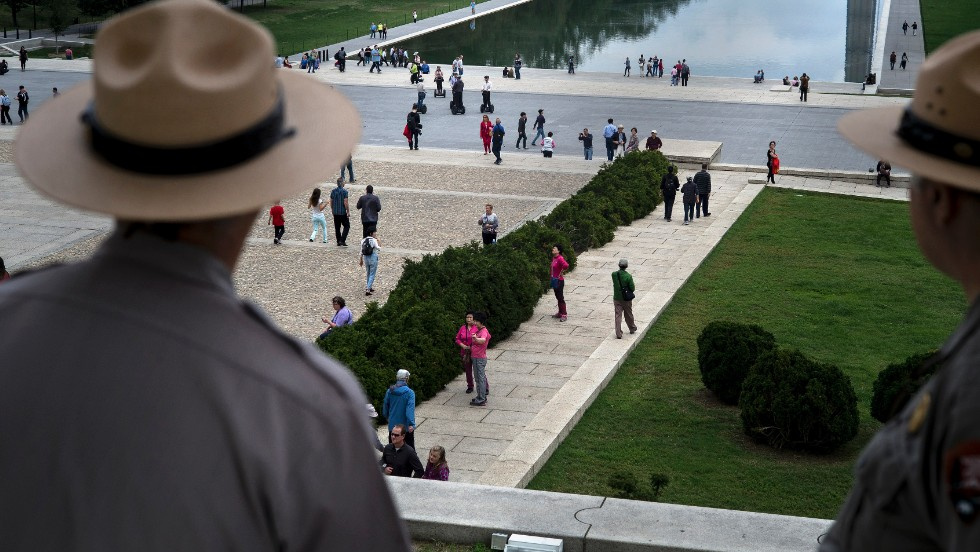 Park rangers are on duty at the Lincoln Memorial on October 17.