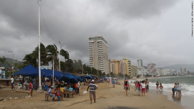 Tropical Storm Raymond brings cloudy skies to Acapulco, Mexico, on Sunday, before it strengthened to a hurricane.