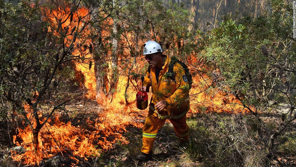 "A firefighter lights a back burn Monday, October 21 near Mount Victoria in the Blue Mountains. There are fears that the dozens of fires could become one possible ""megafire."""