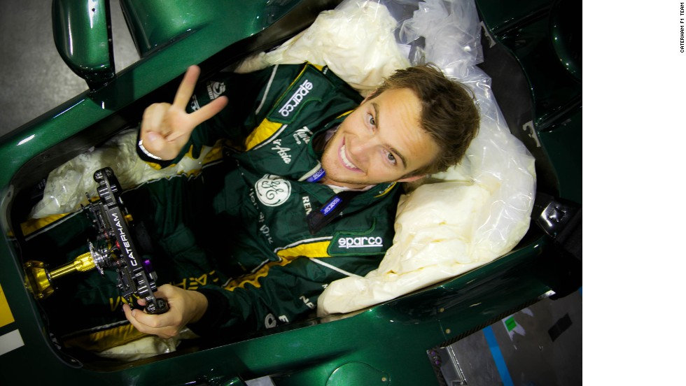 Space is at a premium in an F1 cockpit as Caterham driver Giedo Van Der Garde - another of the taller drivers on the grid - finds out in his seat fitting for the 2013 car.