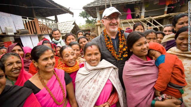 Heifer International CEO and president Pierre Ferrari with project participants in Nepal