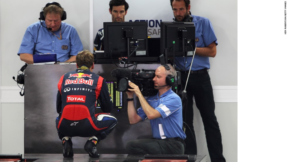 All F1 drivers are weighed throughout the race weekend as the car and driver must meet a minimum weight of 642 kilos - in 2014 this will rise to 690 kilos to take account of the heavier engines. Here Red Bull's world champion Sebastian Vettel faces a public weighing in India.