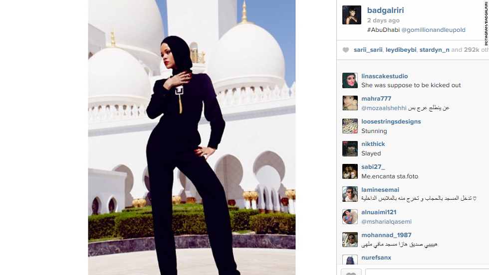 "Singer Rihanna was <a href=""http://www.cnn.com/2013/10/21/showbiz/rihanna-mosque-pictures/index.html"">asked to leave</a> when she staged an impromptu fashion photo shoot at the Sheikh Zayed Grand Mosque Center in the United Arab Emirates in October 2013."
