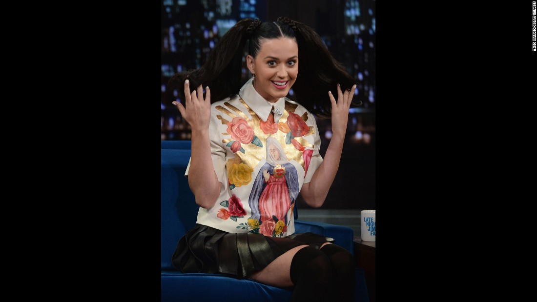 "Katy Perry visits ""Late Night With Jimmy Fallon"" in 2013."