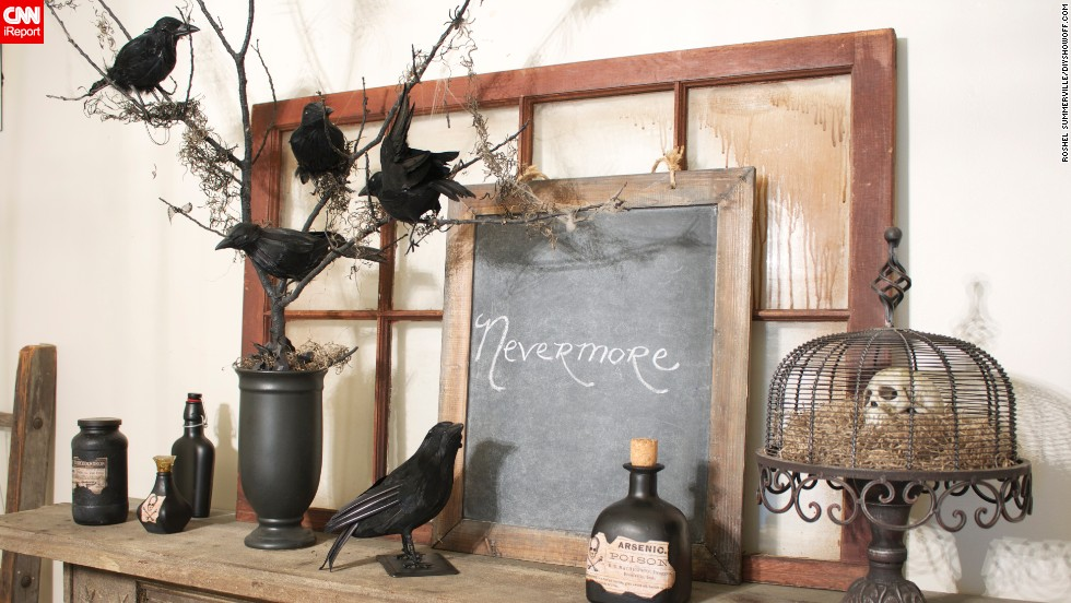 "Edgar Allen Poe's poem ""The Raven"" inspired blogger <a href=""http://ireport.cnn.com/docs/DOC-1047484"">Roeshel Summerville</a> to create this ""nevermore tree."" Her blog <a href=""http://diyshowoff.com/2012/10/03/diy-halloween-nevermore-tree-tutorial/"" target=""_blank"">The DIY Showoff</a> shows how to recreate this display."