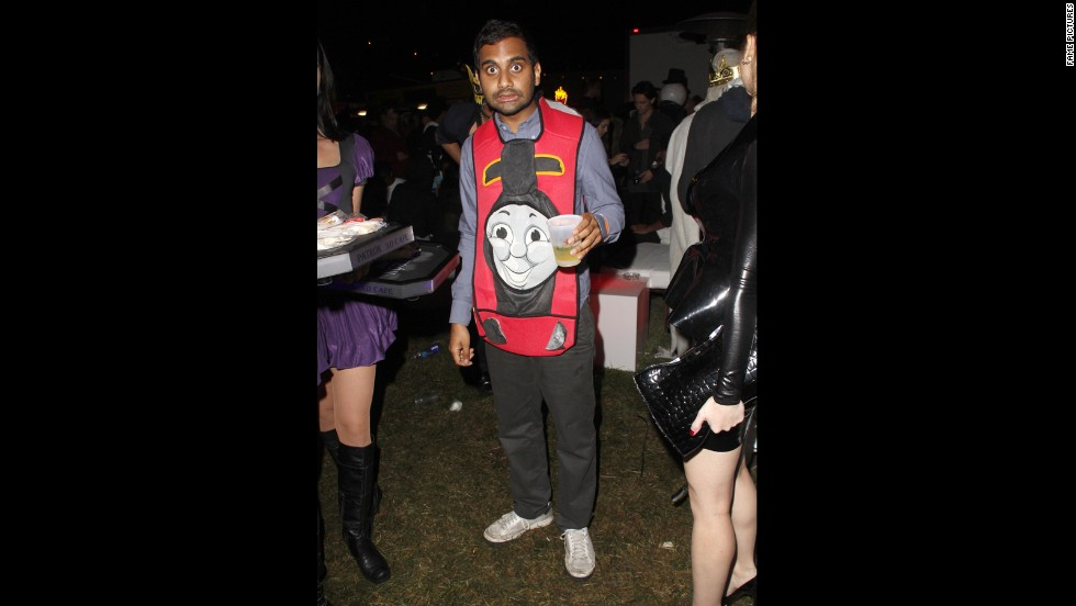 Aziz Ansari looked a little lost when he dressed up as Thomas the Tank Engine in 2012.