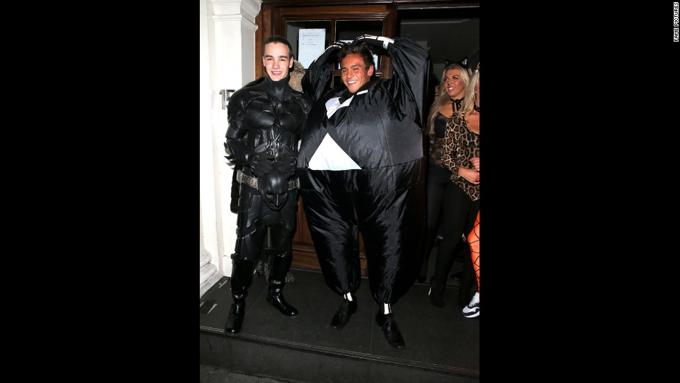 What should a super-well-known pop singer and super-athlete dress up as for Halloween? In 2012, One Direction's Liam Payne and Olympic diver Tom Daley went with portraying a pair of super-foes -- or at least we think. Payne's Batman is pretty obvious, while Daley appears to have dressed as a hybrid of The Penguin and a skeleton.