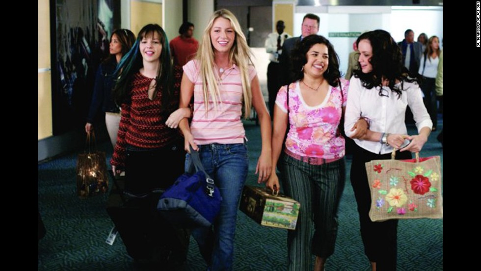 "Ephron helped adapt the book ""The Sisterhood of the Traveling Pants"" for the screen. The movie stars Amber Tamblyn, from left, Blake Lively, America Ferrera, and Alexis Bledel."