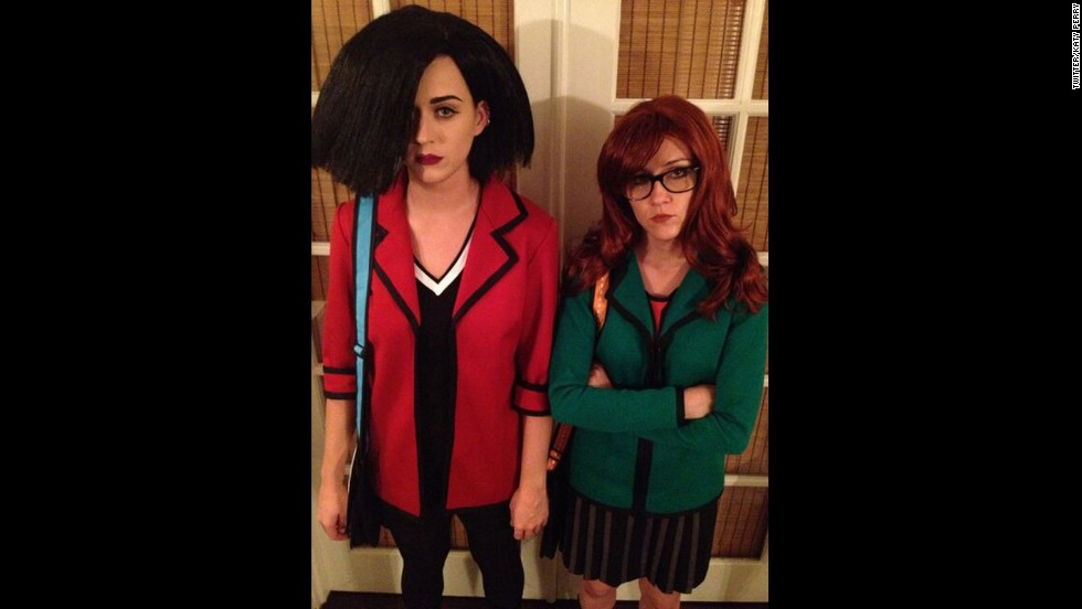 """Katy Perry and her pal Shannon Woodward <a href=""""https://twitter.com/katyperry/status/263890302392209408"""" target=""""_blank"""">went as one of our favorite BFF pairs</a>, Daria Morgendorffer and Jane Lane, for Halloween in 2012."""