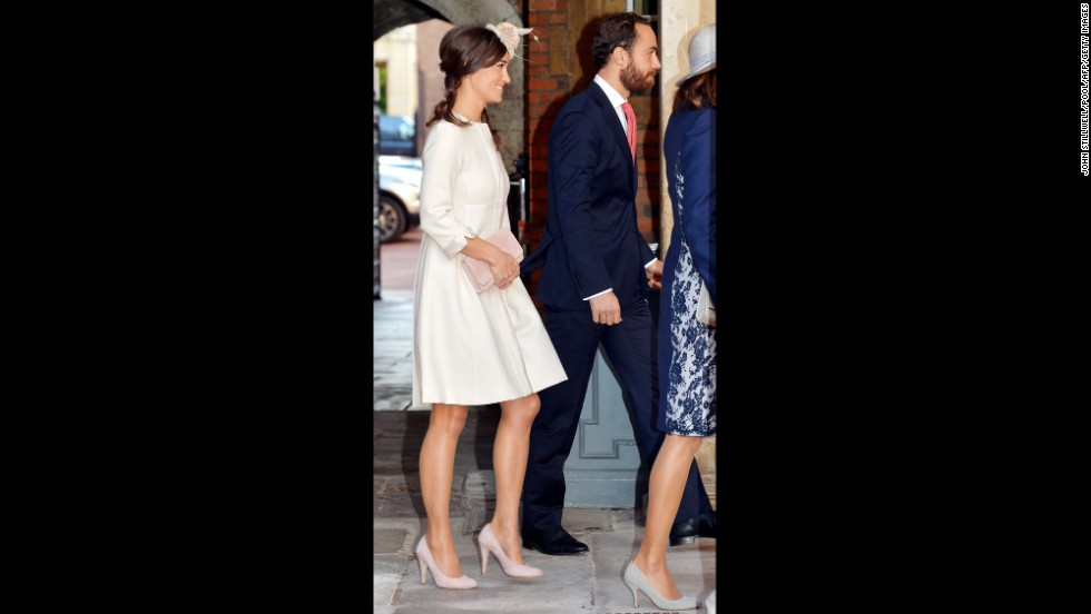 Pippa and James Middleton arrive at Chapel Royal for the christening.
