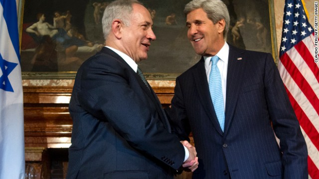 US Secretary of State John Kerry meets with Israeli Prime Minister Benjamin Netanyahu in Rome, on October 23.