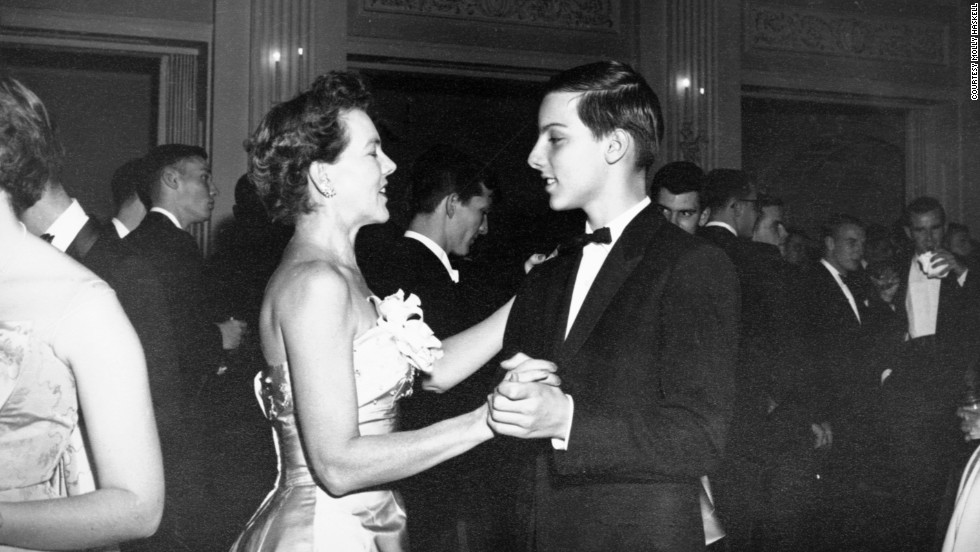 1958: Mary Haskell, 49, with her son, Chevey, 13, at a debutante ball.