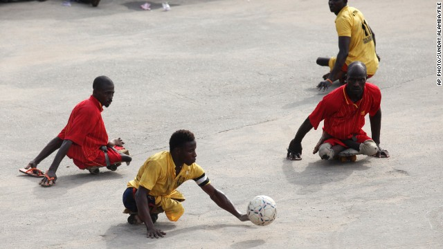 Nigerian para-soccers hold a game outside Lagos, Nigeria.