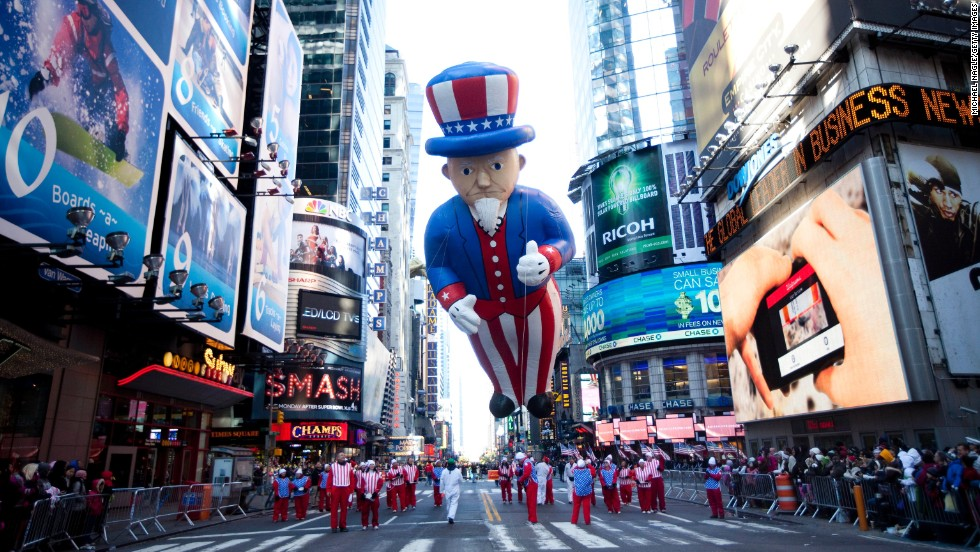 The Macy's Thanksgiving Day Parade is a time-honored feature of the American holiday. The event started in 1924 and features balloons and floats of popular cartoon characters and pop culture icons.