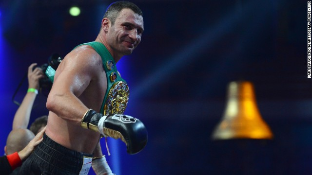 Vitali Klitschko celebrates after winning the WBC-heavy weight title in 2012 in Moscow, Russia.