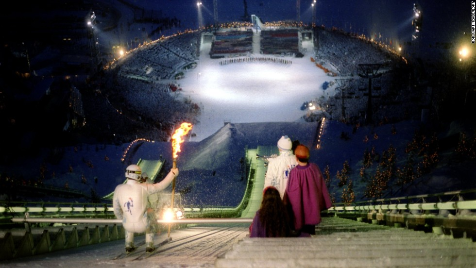 Ski jumper Stein Gruben prepares to leap into Olympic history at the 1994 Winter Games. When Lillehammer won hosting rights in 1988 few people outside Norway knew where it was. Today, it remains a center of excellence for winter sports.