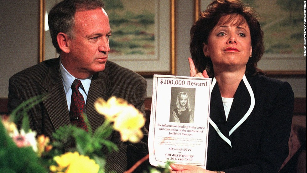 John and Patsy Ramsey promised a reward for information leading to the arrest and conviction of their daughter's murderer during an interview on Thursday, May 1, 1997, in Boulder.