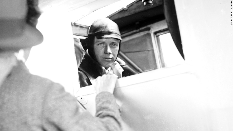 In May 1927 aviator Charles Lindbergh became the first to fly solo, nonstop across the Atlantic Ocean. He's photographed here aboard his plane, the Spirit of St. Louis.