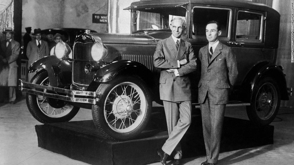 In 1927, Henry Ford, shown here with his son Edsel Ford, was transitioning the company from producing the Model T to the Model A.