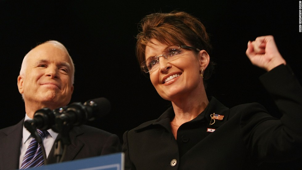 McCain stands with his newly announced running mate in August 2008. McCain made the Palin announcement the day after Obama accepted the Democratic presidential nomination.