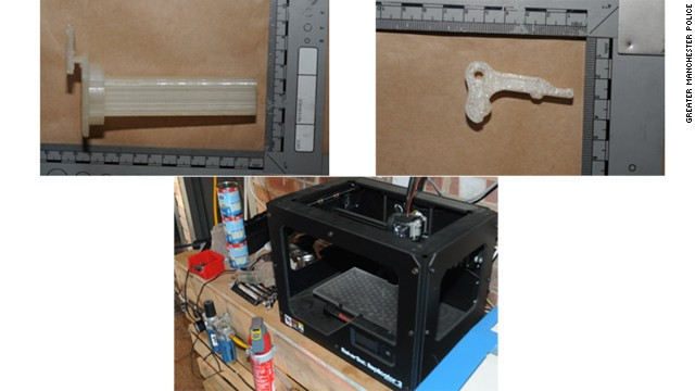 "The printer and ""gun"" parts seized in a UK raid. It now appears the plastic parts may belong to the printer itself."