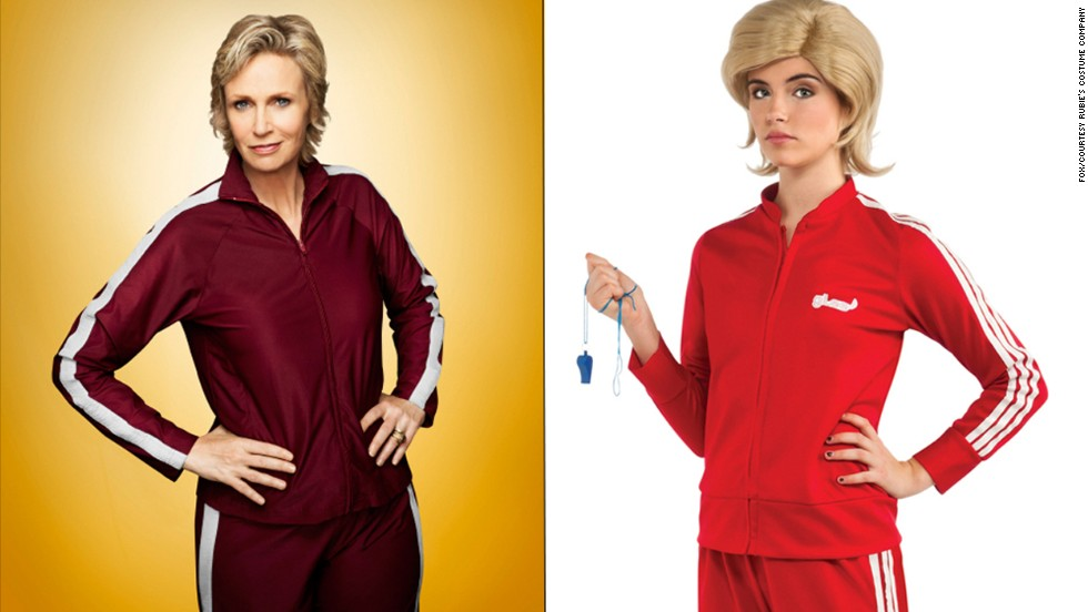 "This costume of ""Glee's"" coach we love to hate, Sue Sylvester, from Rubie's Costume Company includes a replica of her infamous track suit and wig."