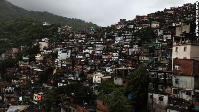 A view of Rocinha, the largest slum, or favela, in Brazil. The country is working to reduce its income inequality.