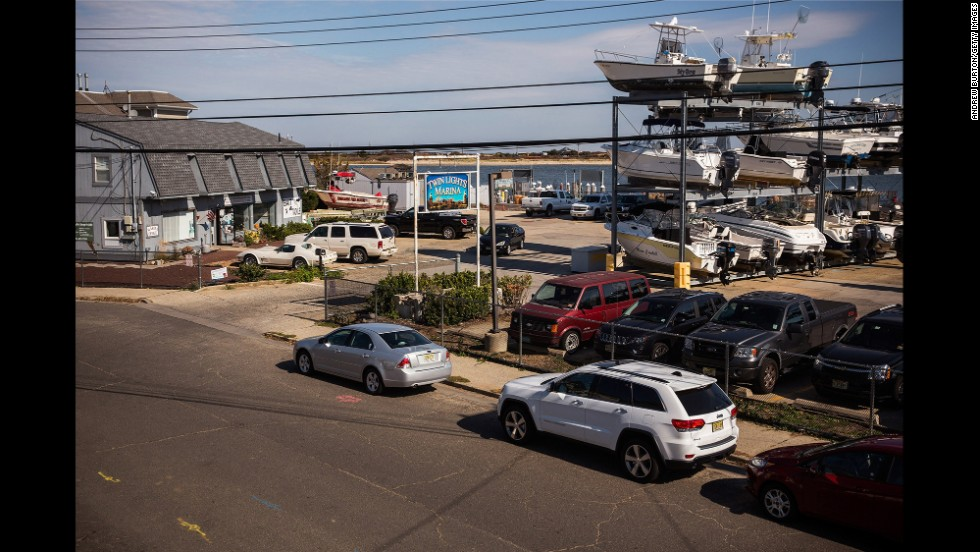 Boats are neatly stored at a marina in Highlands, New Jersey, on October 22.