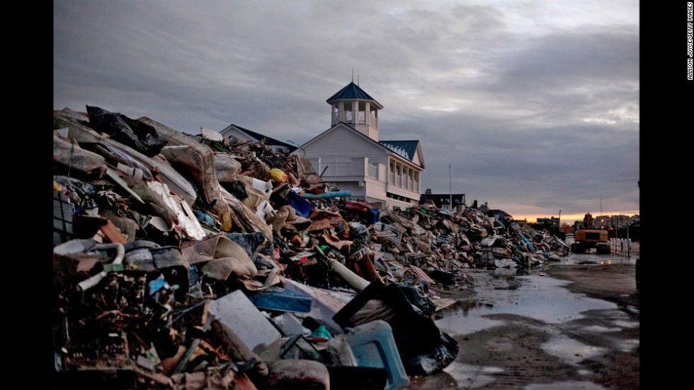 The Monmouth Beach pavilion  in Monmouth, New Jersey, is surrounded by debris on November 8, 2012.