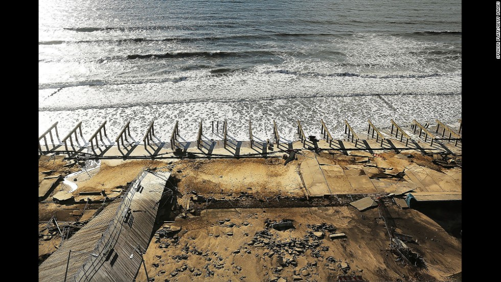 The foundations are all that remain of the historic Rockaway boardwalk in the Rockaway neighborhood in Queens, New York, on October 31, 2012.