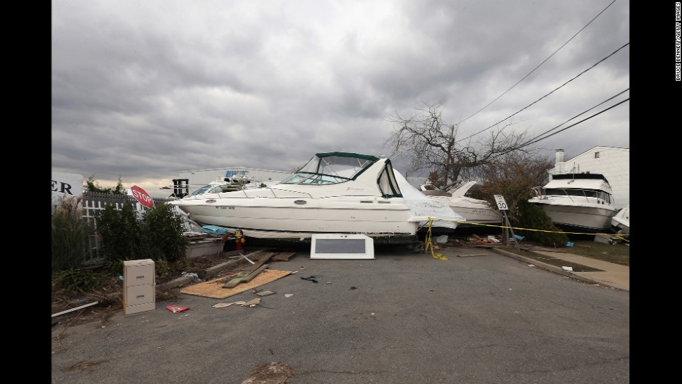 A boat from the Blue Water Club blocks Whaleneck Drive in Merrick, New York, on November 1, 2012.