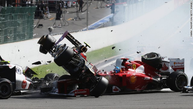 In this sequence of ten frames Romain Grosjean of France and Lotus is seen being catapulted into the air as he crashes at the first corner at the start of the Belgian Grand Prix at the Circuit of Spa Francorchamps on September 2, 2012 in Spa Francorchamps, Belgium. (Photo by Mark Thompson/Getty Images)