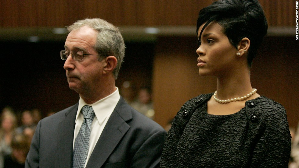 Attorney Donald Etra and singer Rihanna appear at a preliminary hearing in Los Angeles on June 23, 2009. The hearing was to determine if Chris Brown would stand trial for allegedly attacking Rihanna during an argument in a rented Lamborghini sports car.