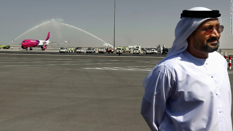 The first arrival received a celebratory water salute.