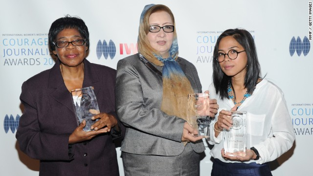 "Edna Machirori (L), Najiba Ayubi and Bopha Phorn were honored at the ""Courage in Journalism Awards"" for 2013."