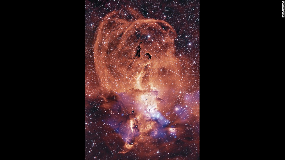 This region of glowing gas, in the Sagittarius arm of the Milky Way, is about 9,000 light years from Earth.